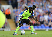 Brighton midfielder, winger, Kazenga LuaLua shields the ball during the Sky Bet Championship match between Ipswich Town and Brighton and Hove Albion at Portman Road, Ipswich, England on 29 August 2015.