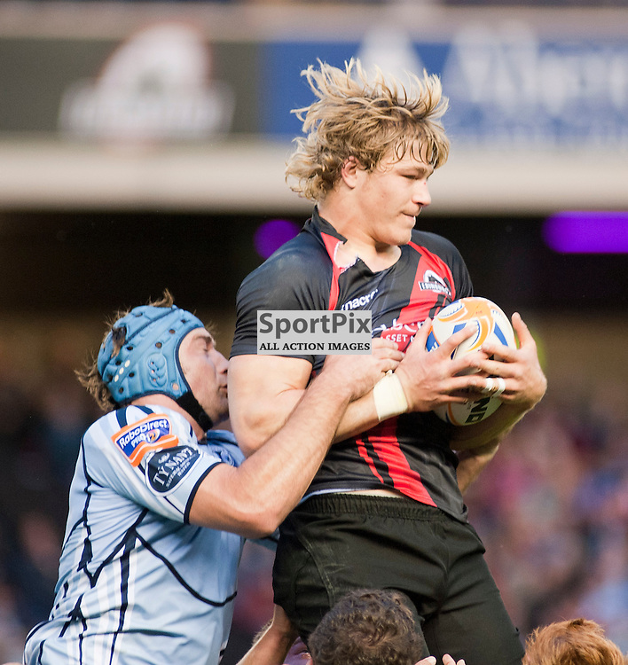 Edinburgh's David Denton takes a lineout ball, Edinburgh Rugby v Cardiff Blues, RaboDirect Pro12 League