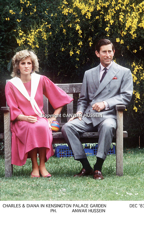 Diana, Princess of Wales and Prince Charles, prince of Wales in the gardens of Kenbsington Palace.<br />