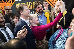 © Licensed to London News Pictures . 01/05/2015 . Manchester , UK . Nick Clegg poses for a selfie with a party supporter after a Liberal Democrat party rally at Chorlton-cum-Hardy Golf Club . Liberal Democrat party leader Nick Clegg visits the constituency of Manchester Withington to deliver a speech on the NHS and campaign with local candidate John Leech . Photo credit : Joel Goodman/LNP