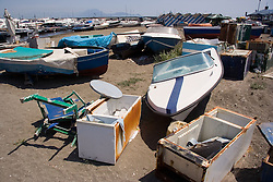 Boat junk yard in bay of Naples; Italy