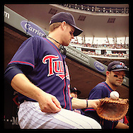 An Instagram of Minnesota Twins Justin Morneau before a game at Target Field in Minneapolis, Minnesota.
