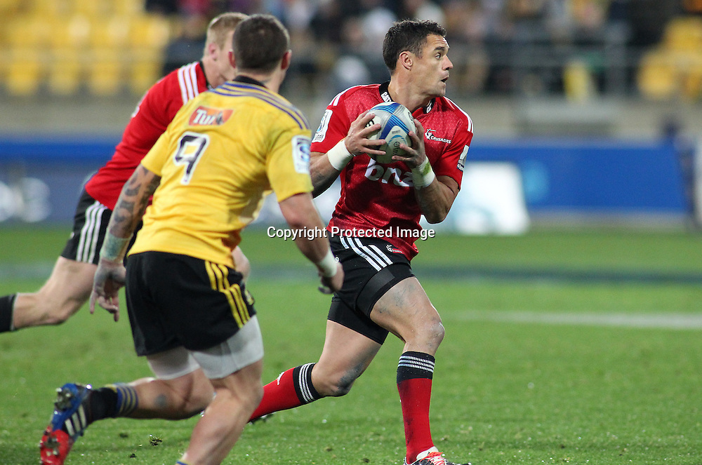 Crusaders' Dan Carter with ball in hand during the Round 17 Super Rugby match, between the Hurricanes & Crusaders. Westpac Stadium, Wellington. 28 June 2014. Photo.: Grant Down / www.photosport.co.nz