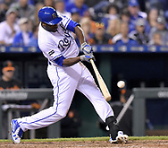 May 12, 2017 - Kansas City, MO, USA - Kansas City Royals' Lorenzo Cain connects on a single in the eighth inning against the Baltimore Orioles on Friday, May 12, 2017 at Kauffman Stadium in Kansas City, Mo. (Credit Image: © John Sleezer/TNS via ZUMA Wire)
