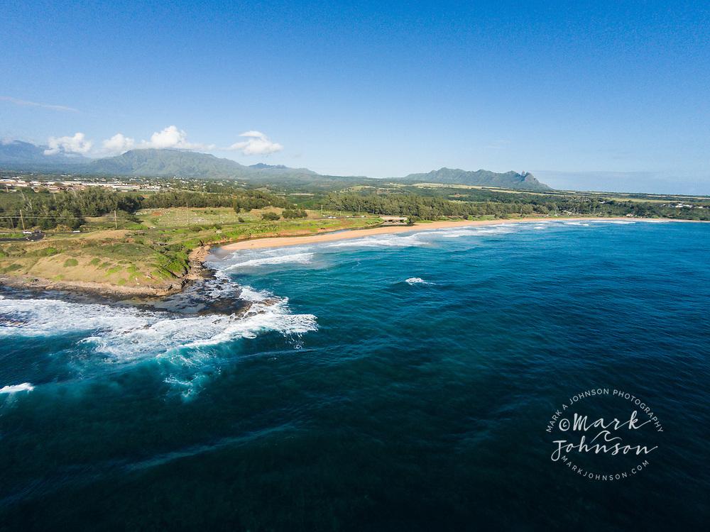 Aerial photograph of Kealia Beach, Kauai, Hawaii