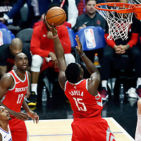 28 February 2018: Houston Rockets center Clint Capela (15) goes for the baby hook over LA Clippers center Boban Marjanovic (51) during the Houston Rockets 105-92 victory over the LA Clippers, at the Staples Center, Los Angeles, California, USA.