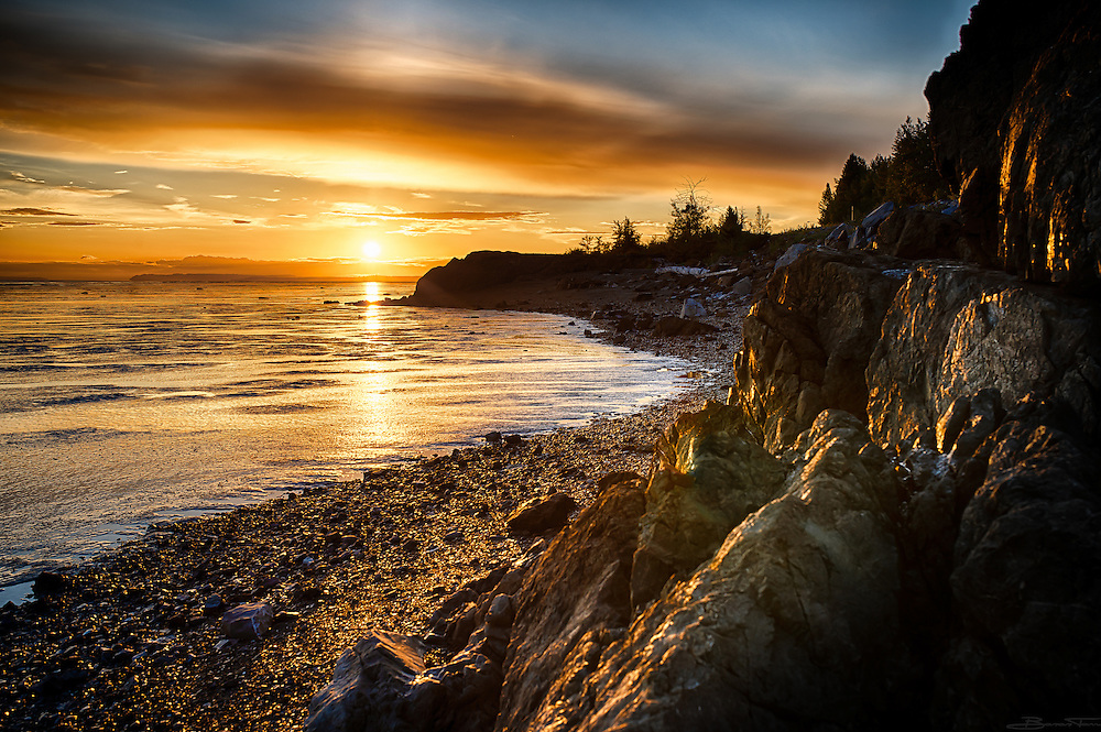 Alaska's Turnagain Arm in golden sunlight.