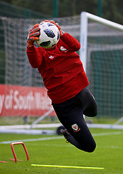NEWPORT, WALES - Friday, October 5, 2018: Wales' goalkeeper Claire Skinner during a training session at Dragon Park. (Pic by David Rawcliffe/Propaganda)