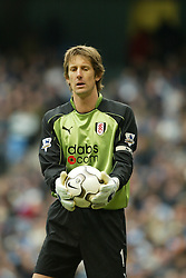 MANCHESTER, ENGLAND - Saturday, March 27, 2004: Fulham's goalkeeper Edwin Van Der Sar in action during the Premiership match at the City of Manchester Stadium. (Pic by David Rawcliffe/Propaganda)