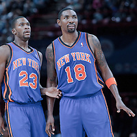 06 October 2010: New York Knicks guard Toney Douglas #23 is seen next to New York Knicks guard Roger Mason #18 during the Minnesota Timberwolves 106-100 victory over the New York Knicks, during 2010 NBA Europe Live, at the POPB Arena in Paris, France.