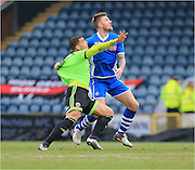 Che Adams, Ashley Eastham during the Sky Bet League 1 match between Rochdale and Sheffield Utd at Spotland, Rochdale, England on 27 February 2016. Photo by Daniel Youngs.
