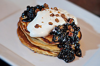 Corn Pancakes with Blueberry-Kahlua Syrup