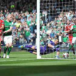 Ryan Christie scores in the match between Hibs v Aberdeen, William Hill Scottish Semi Final, Hampden, Saturday 22 April 2017  (c) Angie Isac | SportPix.org.uk