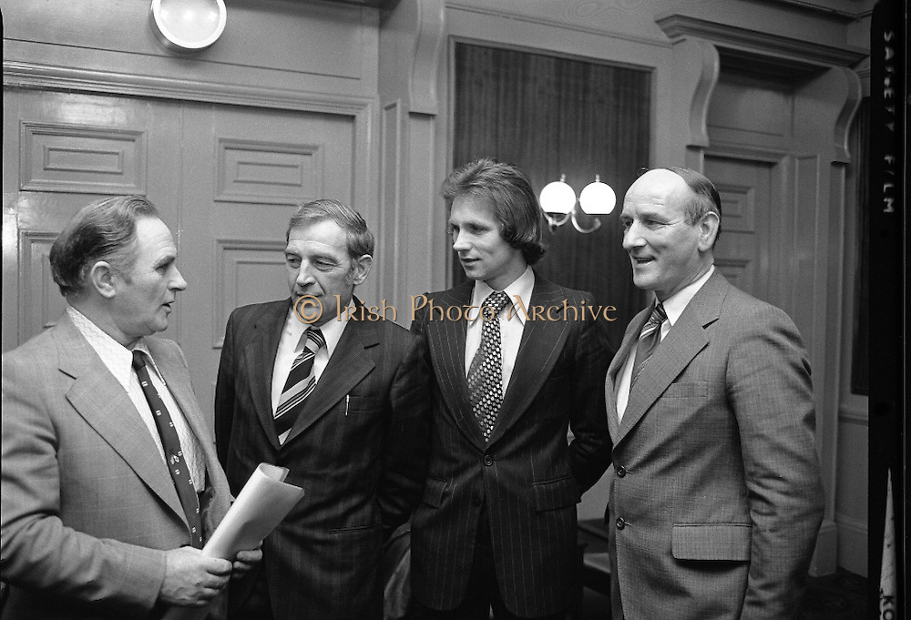 BLE Cross Country Press Release.   (L57).1977..13.12.1977..12.13.1977..13th December 1977..Today, details of The Waterford Glass Limited sponsored BLE National Inter-Counties Cross Country Championships were announced at a reception at the Gresham Hotel,Dublin..Image shows (L-R) Mr Bill Coughlan, President BLE, Mr Tom Corcoran,Sales Manager, Waterford Glass Ltd, Mr Eamon Coughlan,Irish olympic Athlete and Mr Paddy Byrne, Chairman Waterford Board BLE.