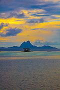 Sunset, Bora Bora from Tahaa, Motu, French Polynesia