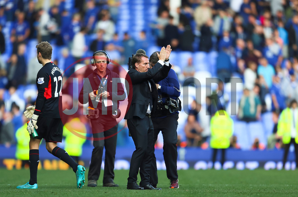 Liverpool Manager, Brendan Rodgers applauds the away fans shortly before parting company with the club  - Mandatory byline: Matt McNulty/JMP - 07966 386802 - 04/10/2015 - FOOTBALL - Goodison Park - Liverpool, England - Everton  v Liverpool - Barclays Premier League