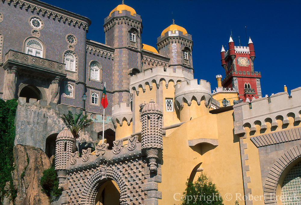 PORTUGAL, SINTRA, PENA PALACE architectural fantasy built in the 1840's