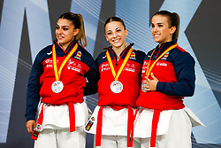 November 11, 2018 - Madrid, Madrid, Spain - Spain Team with silver medal of female Kata Team during the Finals of Karate World Championship celebrates in Wizink Center, Madrid, Spain, on November 11th, 2018. (Credit Image: © AFP7 via ZUMA Wire)