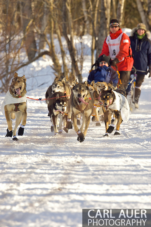 March 7th, 2009:  Anchorage, Alaska - Linwood Fiedler of Willow, Alaska during the start of the 2009 Iditarod.