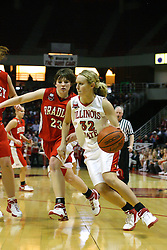 28 January 2007: Maggie Krick peddles past Devyn Flanagan. Before a record crowd or nearly 4200, the Bradley Braves were defeated by the conference leading (9-0) Redbirds of Illinois State University by a score of 55-47 at Redbird Arena in Normal Illinois.