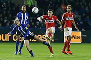 Middlesbrough midfielder Muhamed Besic (37) shoots during the EFL Sky Bet Championship match between Sheffield Wednesday and Middlesbrough at Hillsborough, Sheffield, England on 19 October 2018.