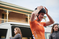 Heidi Franz (USA) checks her helmet before Stage 3 of 2020 Santos Women's Tour Down Under, a 109.1 km road race from Nairne to Stirling, Australia on January 18, 2020. Photo by Sean Robinson/velofocus.com