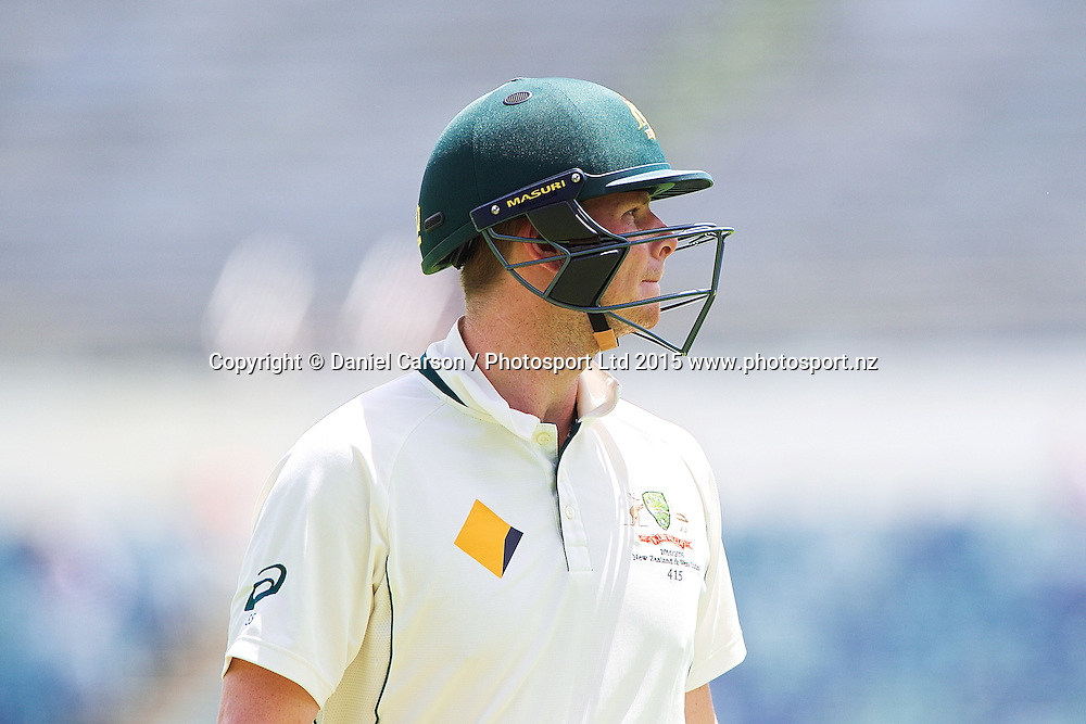 Steve Smith (*c) of Australia leaves the pitch after losing his wicket during Day 5 on the 17th of November 2015. The New Zealand Black Caps tour of Australia, 2nd test at the WACA ground in Perth, 13 - 17th of November 2015.   Photo: Daniel Carson / www.photosport.nz