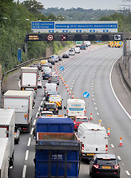 © Licensed to London News Pictures. 11/07/2019. London, UK. Traffic is diverted off  the M25  at Leatherhead in Surrey after a lorry crashed earlier this morning. The west bound carriage way is closed causing long tailbacks. A man was flown to hospital in an air ambulance.   Photo credit: Peter Macdiarmid/LNP