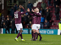 Football - 2019 / 2020 William Hill Scottish Cup - Quarter-Final: Heart of Midlothian vs. Rangers<br /> <br /> Craig Halkett of Hearts and Clevid Dikamona of Hearts at full time, at Tynecastle Park, Edinburgh.<br /> <br /> COLORSPORT/BRUCE WHITE