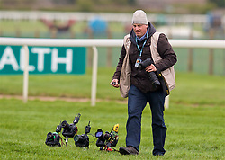 LIVERPOOL, ENGLAND - Thursday, April 6, 2017: Liverpool Echo photographer Colin Lane, during The Opening Day on Day One of the Aintree Grand National Festival 2017 at Aintree Racecourse. (Pic by David Rawcliffe/Propaganda)