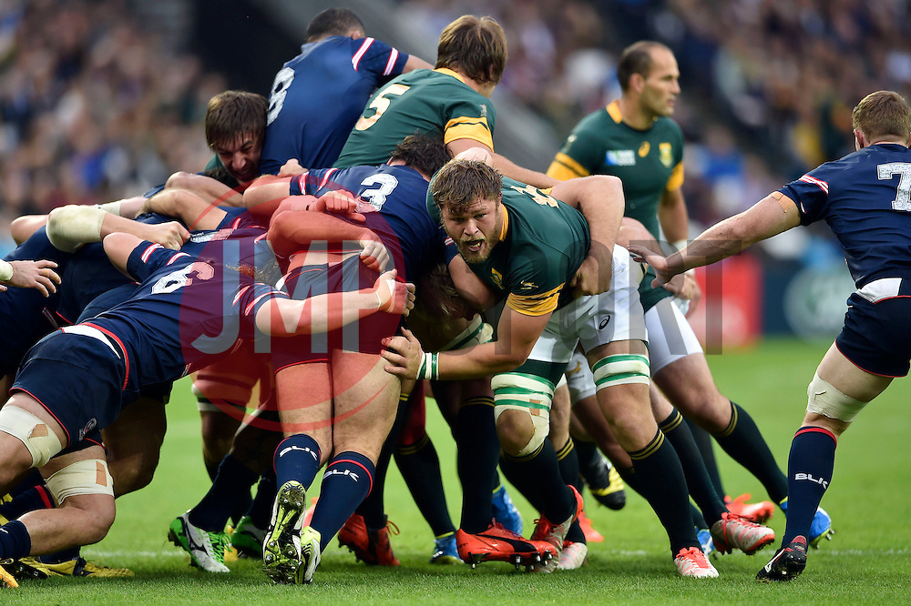 Duane Vermeulen of South Africa in action - Mandatory byline: Patrick Khachfe/JMP - 07966 386802 - 07/10/2015 - RUGBY UNION - The Stadium, Queen Elizabeth Olympic Park - London, England - South Africa v USA - Rugby World Cup 2015 Pool B.