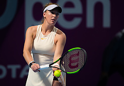 February 10, 2019 - Doha, QATAR - Madison Brengle of the United States in action during qualifications at the 2019 Qatar Total Open WTA Premier tennis tournament (Credit Image: © AFP7 via ZUMA Wire)