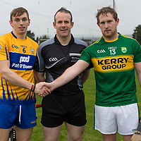 Clare's David McInerney, Referee Johnny Murphy and Kerry's Padraig Boyle