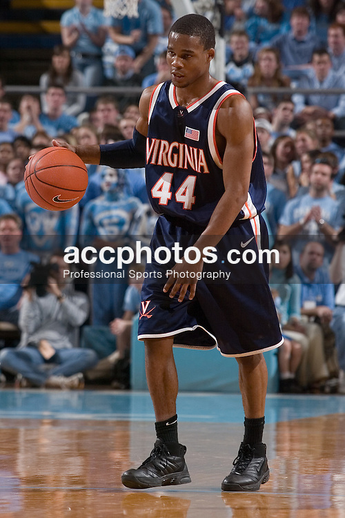 10 January 2007: Virginia Cavaliers guard (44) Sean Singletary during a 79-69 Virginia Cavaliers loss to the North Carolina Tar Heels, in the Dean E. Smith Center in Chapel Hill, NC.