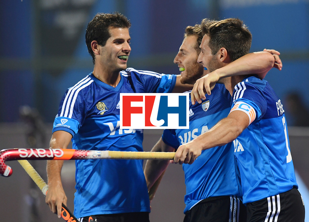 Odisha Men's Hockey World League Final Bhubaneswar 2017<br /> Match id:11<br /> Argentina v Spain<br /> Foto: Matias Paredes (Arg) scored a goal<br /> Lucas Vila (Arg) <br /> COPYRIGHT WORLDSPORTPICS FRANK UIJLENBROEK