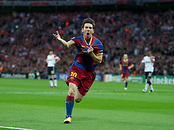 28-05-2011 VOETBAL: CHAMPIONS LEAGUE FINAL FC BARCELONA - MANCHESTER UNITED: LONDON<br /> Lionel Messi celebrates scoring the second goal against Manchester United<br /> ***NETHERLANDS ONLY***<br /> ©2011- FotoHoogendoorn.nl/nph/Chris Brunskill