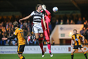 Forest Green Rovers Christian Doidge(9) beats Cambridge United goalkeeper David Forde(1) to the ball during the EFL Sky Bet League 2 match between Cambridge United and Forest Green Rovers at the Cambs Glass Stadium, Cambridge, England on 26 September 2017. Photo by Shane Healey.
