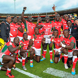 Challenge Cup winners Kenya. Day two of the 2017 HSBC World Sevens Series Wellington at Westpac Stadium in Wellington, New Zealand on Sunday, 29 January 2017. Photo: Dave Lintott / lintottphoto.co.nz