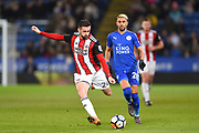 Sheffield United defender Danny Lafferty (24) crosses the ball during the The FA Cup match between Leicester City and Sheffield Utd at the King Power Stadium, Leicester, England on 16 February 2018. Picture by Jon Hobley.