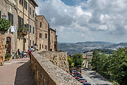 view of Val d'Orcia valley as seen from Pienza, Italy