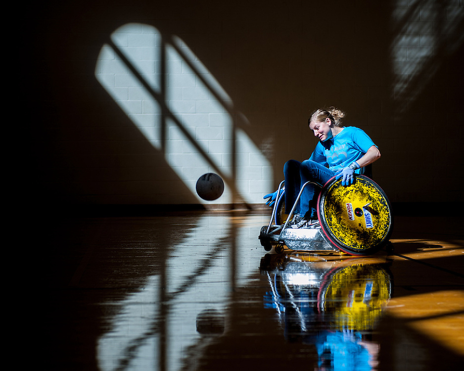 Heather Banks, a volunteer and 2nd year student in the School of Rehab and Communication Sciences, chases the ball during the 5th annual Quad Rugby event in the Charles J. Ping Recreation Center on September 15, 2012.