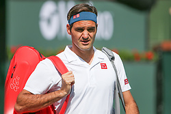 March 15, 2019 - Indian Wells, CA, U.S. - INDIAN WELLS, CA - MARCH 15: Roger Federer (SUI) walks onto the court during the BNP Paribas Open on March 15, 2019 at Indian Wells Tennis Garden in Indian Wells, CA. (Photo by George Walker/Icon Sportswire) (Credit Image: © George Walker/Icon SMI via ZUMA Press)