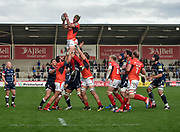 Saracens flanker Kelly Brown collects a line out during the Aviva Premiership match Sale Sharks -V- Saracens at The AJ Bell Stadium, Salford, Greater Manchester, England on November  20  2016. (Steve Flynn/IOS via AP)
