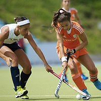 MONCHENGLADBACH - Junior World Cup<br /> Pool A: The Netherlands - USA<br /> photo: Emily Wold (white) and Renske Siersema (orange).<br /> COPYRIGHT FRANK UIJLENBROEK FFU PRESS AGENCY