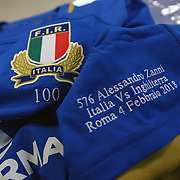 Rome 04/02/2018 Stadio Olimpico<br /> Natwest 6 nations 2018<br /> England v Italy<br /> la maglia dei 100 caps di Alessandro Zanni