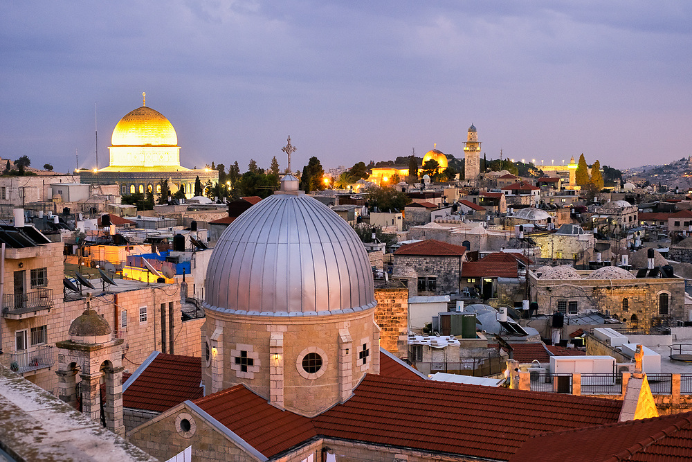 After sunset view of the old city of Jerusalem from the Austrian hospice