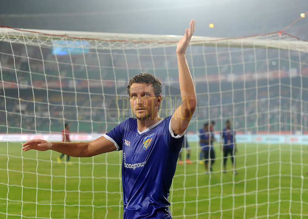 Elano Blumer of Chennaiyin FC greets the crowd after winning match 15 of the Hero Indian Super League between Chennaiyin FC and Mumbai City FC held at the Jawaharlal Nehru Stadium, Chennai, India on the 28th October 2014.<br /> <br /> Photo by:  Pal Pillai/ ISL/ SPORTZPICS