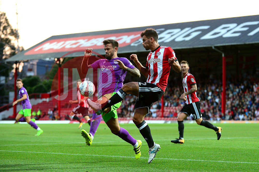 Marlon Pack of Bristol City closes down Maxime Colin of Brentford - Mandatory by-line: Dougie Allward/JMP - 15/08/2017 - FOOTBALL - Griffin Park - Brentford, England - Brentford v Bristol City - Sky Bet Championship