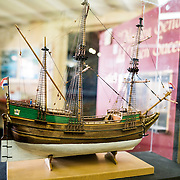 One of many precisely built model ships on display at the Maritime Museum of Ushuaia (Museo Marítimo de Ushuaia). This is a model of the Eendracht, a sailing ship of the hulk type used by Dutch explorers Willem Schouten and Jacob Le Maire in their voyage of 1615-1616. With their distinctive clinker-built round hulls and sterns, Dutch hulks were well-suited to carrying cargo and requiring relatively few crew, but were poorly suited to use in hot tropical waters where the methods of manufacture meant that gaps opened between the wooden planks under the heat of tropical sun and the ships leaked.