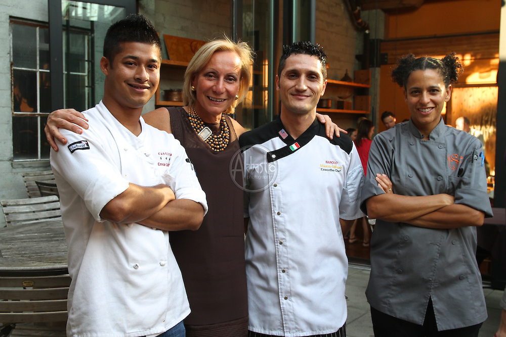 Allegrini Palazzo Della Torre's Cook-Off for a Cause at La Spiga restaurant in Seattle, WA.  Emran Chowdhury, head chef at Cantinetta; Marilisa Allegrini; Maurizio Milazzo, Executive Chef at Barolo; Sabrina Tinsley, Chef and Co-owner of La Spiga.